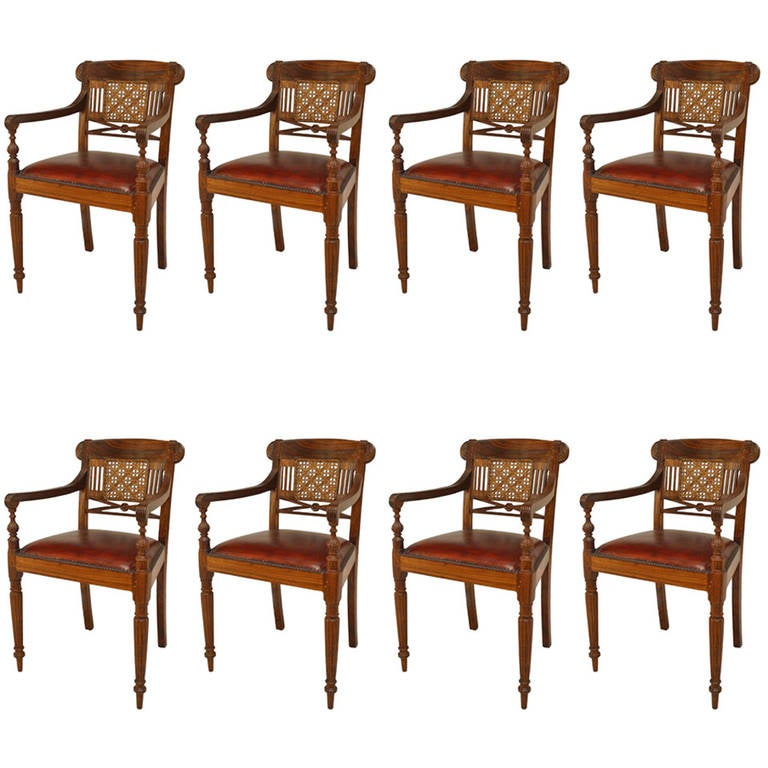 Set of 8 20th c. English Anglo-Indian Armchairs For Sale