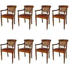 Set of 8 20th c. English Anglo-Indian Armchairs