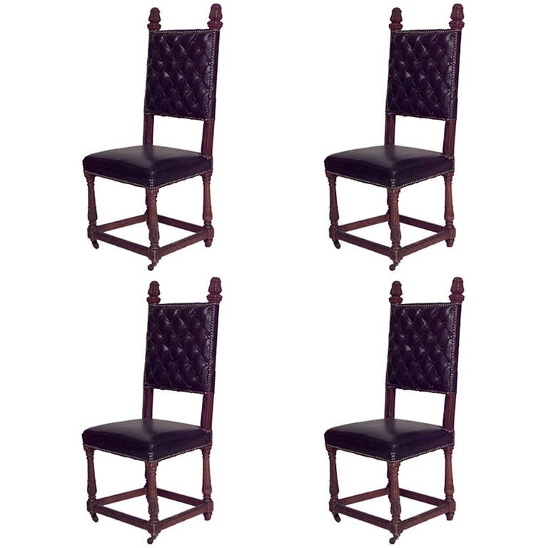 Set Of 4 Renaissance Style Oak And Leather High Back Side Chairs At 1stdibs