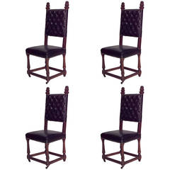 Set of 4 Renaissance Style Oak and Leather High Back Side Chairs