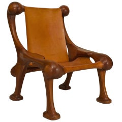 Oversized American Leather and Cherry Lounge Chair by Martin Stan Buchner