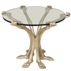 Pedro Friedeberg Post-War Design Silver Arms and Legs Glass End Table