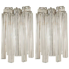 Pair of 20th Century Scandinavian Tiered Crystal Sconces by Camer Glass