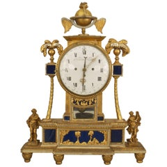 Signed 18th Century Austrian Giltwood and Blue Glass Mantel Clock