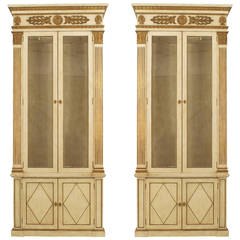 Pair of French Regence Style Grey-Painted and Gilt-Trimmed Bookcases