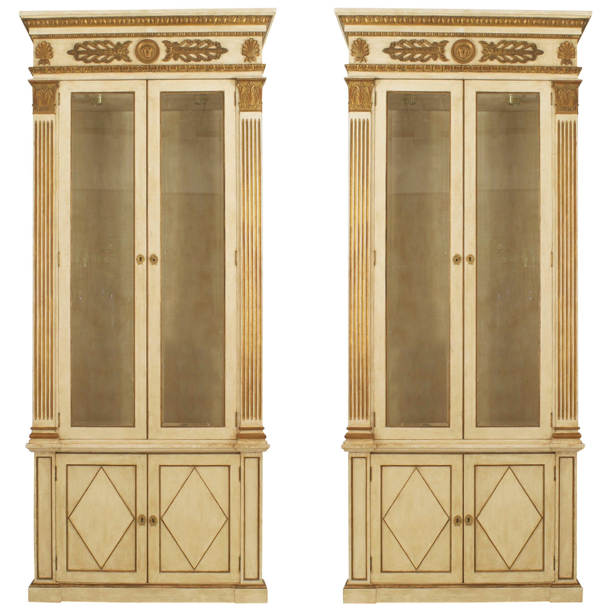 Pair of French Regency Painted Bookcases