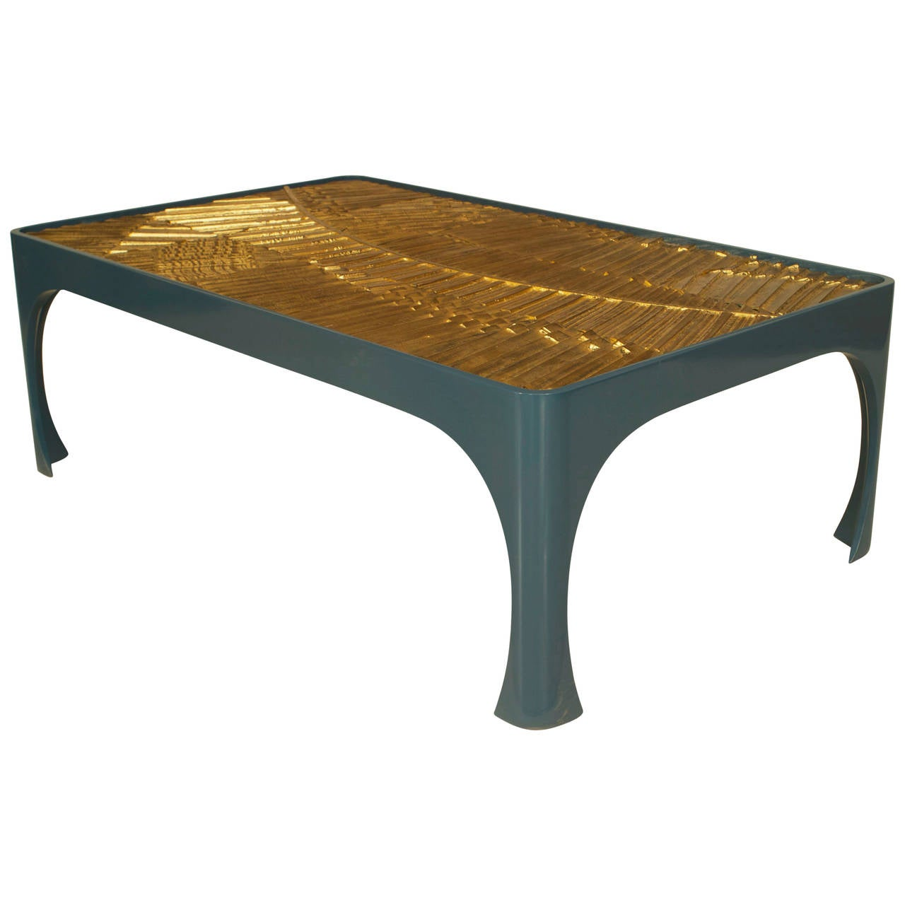 Genial Contemporary Blue Lacquer Coffee Table With 1970s Gilt Resin Top