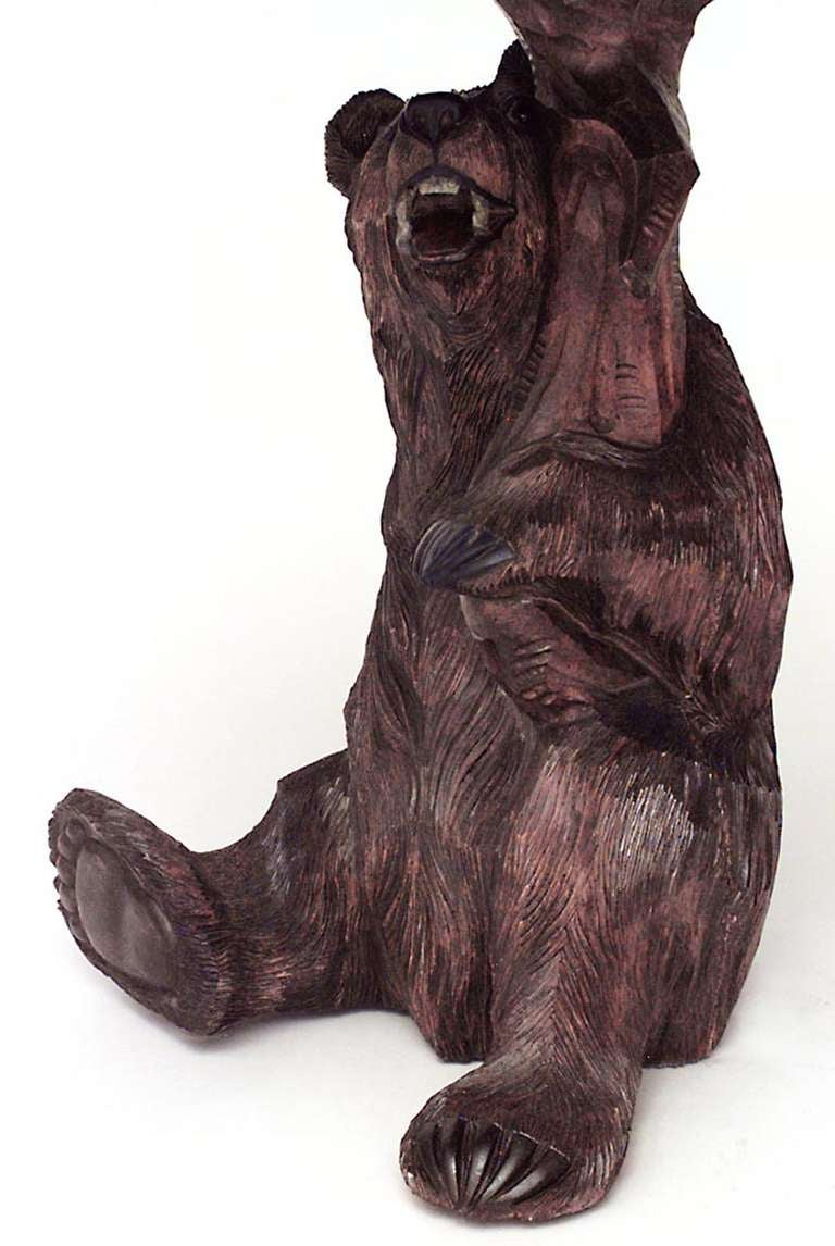 Rustic Black Forest Carved Bear Form Center Table For Sale