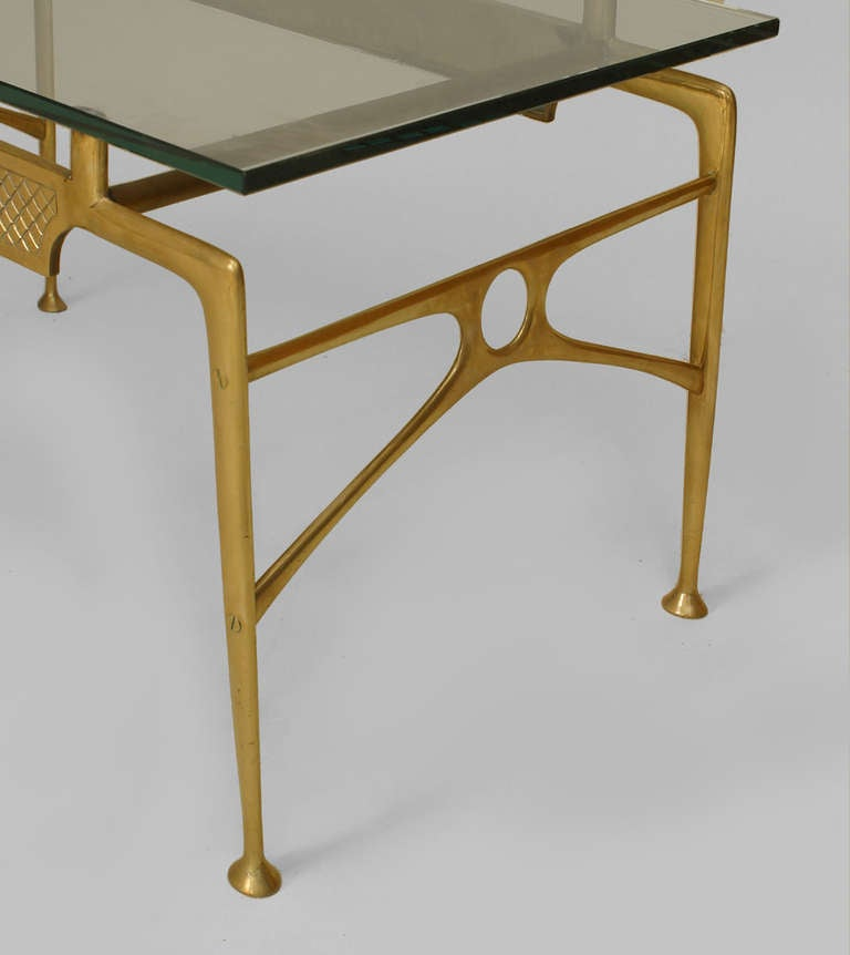 1940 39 S Italian Glass Top Brass Coffee Table At 1stdibs