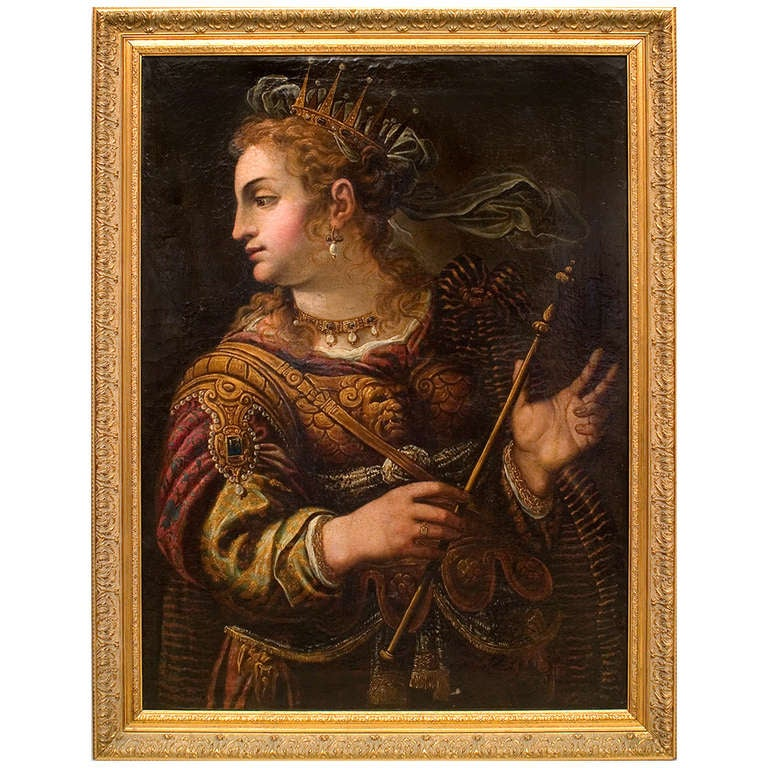 "17th c. Italian Oil on Canvas Painting of ""Minerva,"" Manner of Paolo Veronese"