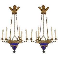 Pair of Baltic Blue Glass and Bronze Chandeliers