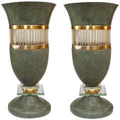 Pair of 1940's French Green Painted Vasiform Table Lamps
