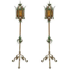Pair of Turn of the Century Venetian Style Floor Lamps