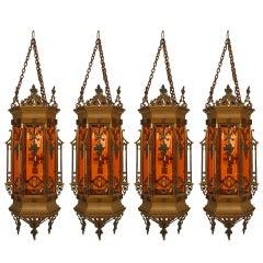 English Gothic Revival Hanging Lantern