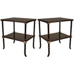 2 Silver Painted Faux Bamboo Black Lacquer End Tables