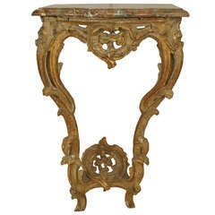 18th c. Italian Rococo Gilt Trimmed Bracket Console Table with Marble Top