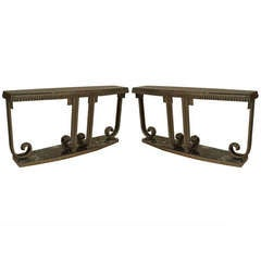 Pair of French Art Deco Style Marble and Wrought Iron Consoles