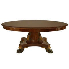 Large English Regency Style Gilt Trimmed Mahogany Dining Table