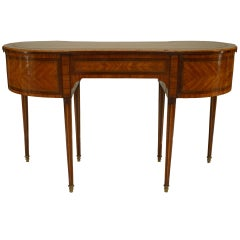 19th c. French Louis XVI Style Kidney-Shaped Satinwood Desk