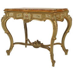 Venetian Painted and Gold Trimmed Marble Top Center Table