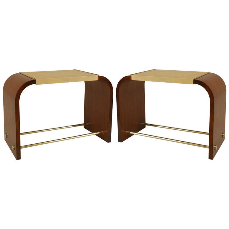 Pair of French Brass-Trimmed End Tables by Jacques and Jean Adnet