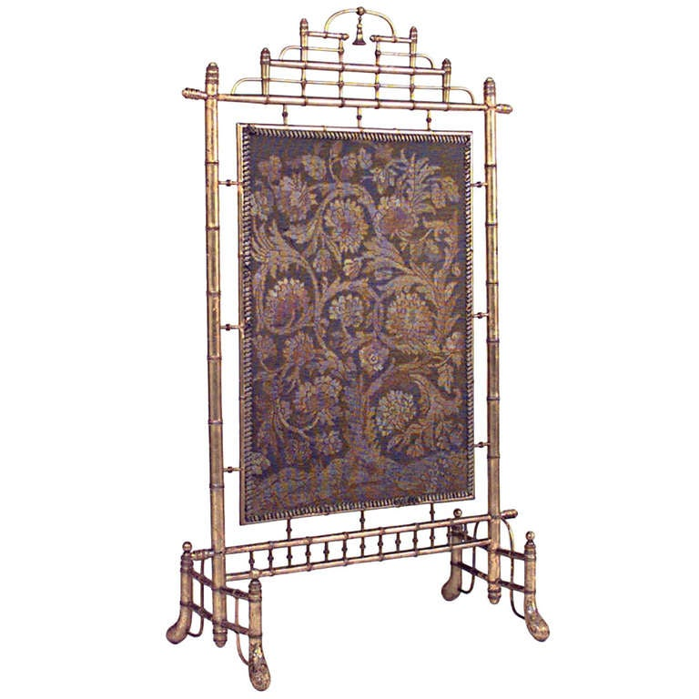 19th c french faux bamboo and needlepoint fire screen for for 123 william street 19th floor new york ny 10038