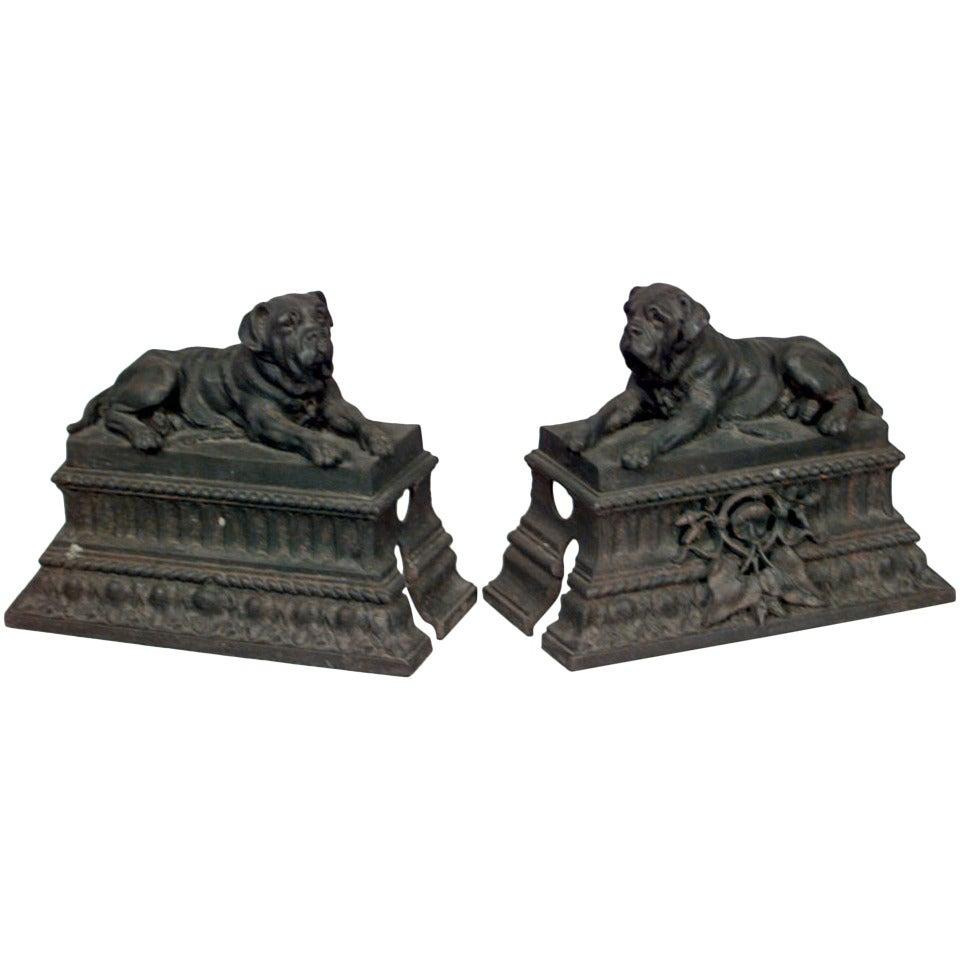 Pair of 19th Century English Dog Andirons