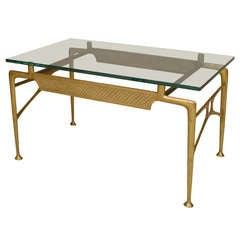 1940's Italian Glass Top Brass Coffee Table