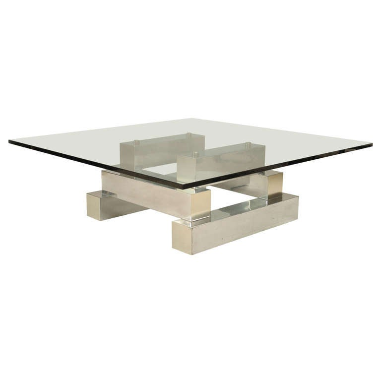 20th c. Aluminum and Brass Coffee Table in the Manner of Paul Evans