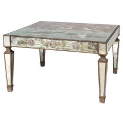 1940's Italian Mirrored Chinoiserie Coffee Table