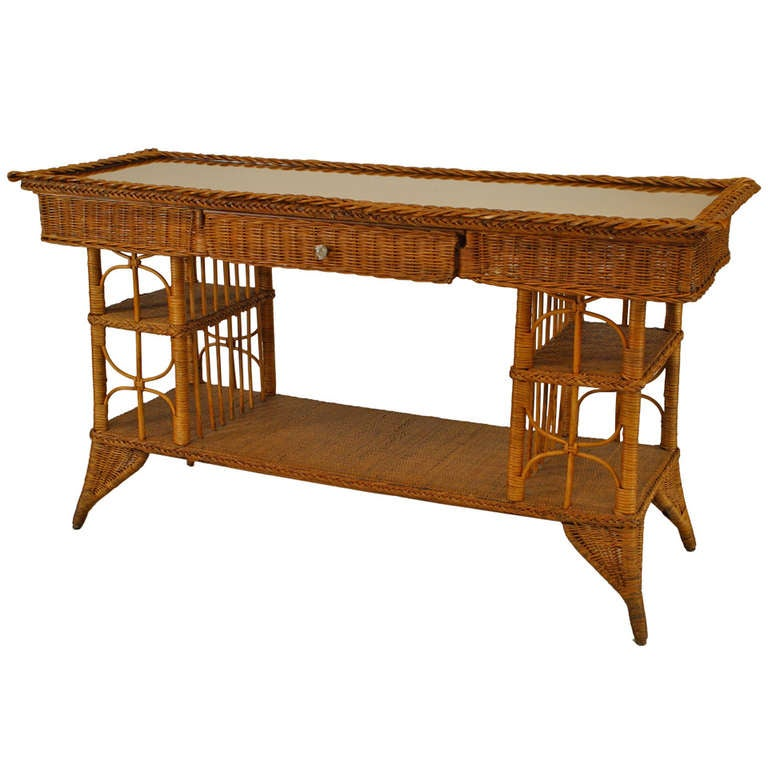 Wicker Davenport Table Attributed To Heywood Wakefield For Noted American Furniture Maker