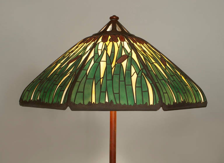 american bronze and stained glass floor lamp by handel at 1stdibs. Black Bedroom Furniture Sets. Home Design Ideas