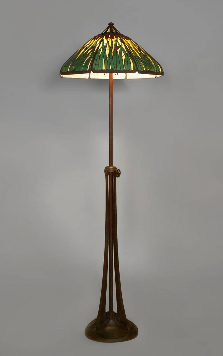 American Bronze And Stained Glass Floor Lamp By Handel For