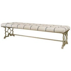 1940's French Upholstered Bench in the Manner of Poillerat