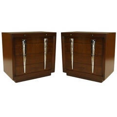 Pair of Mid-Century American Chrome-Trimmed Mahogany Chests