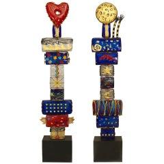 "Pair of 1980s Murano Sculptures Titled, ""Adamo and Eva"" by Irene Rezzonico"