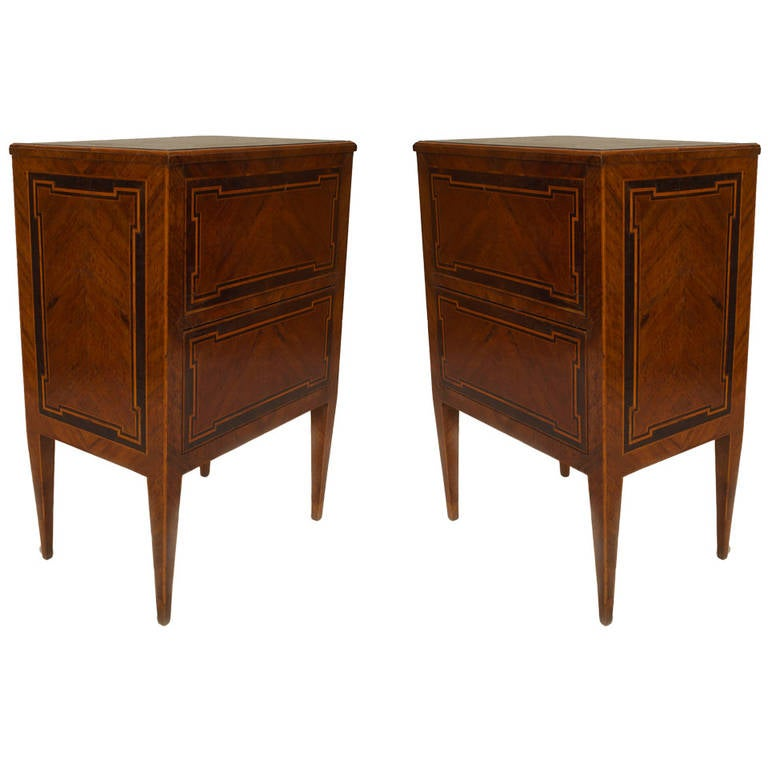 Pair of Late 18th/ Early 19th c. Italian Neoclassic Inlaid Bedside Commodes