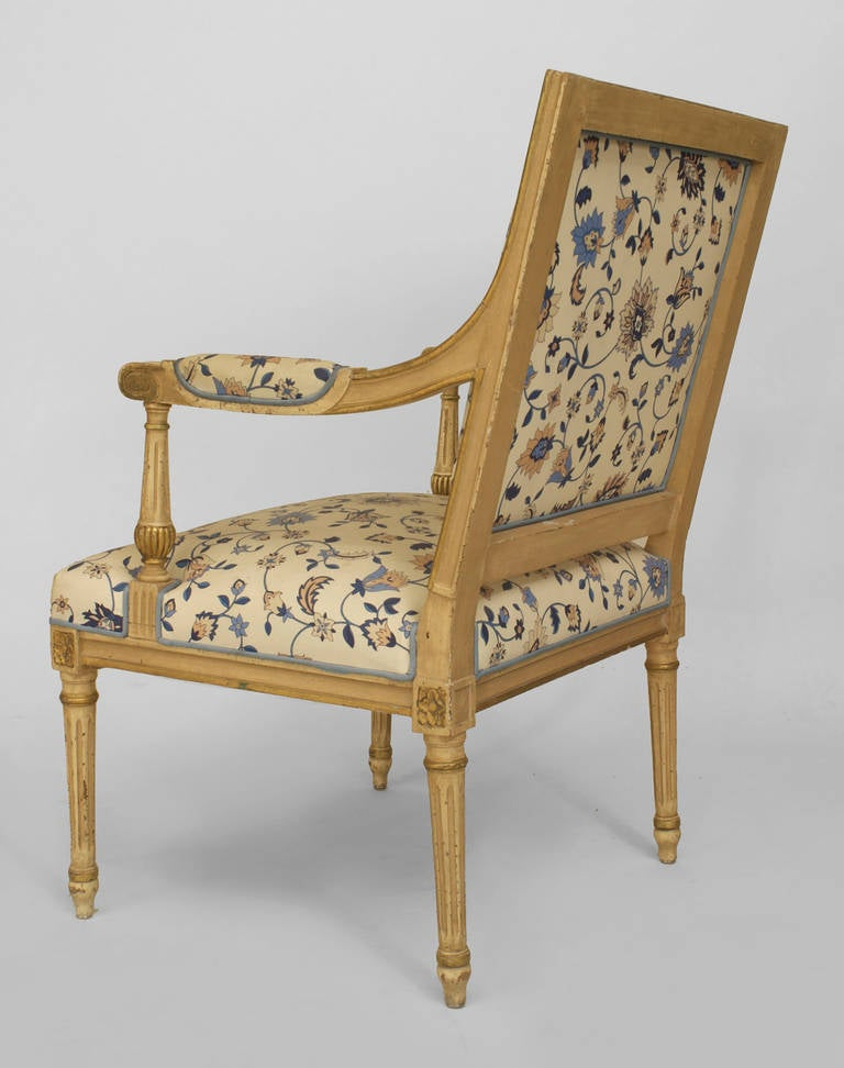 French 20th c. Louis XVI Style Gilt-Trimmed Open Armchair For Sale