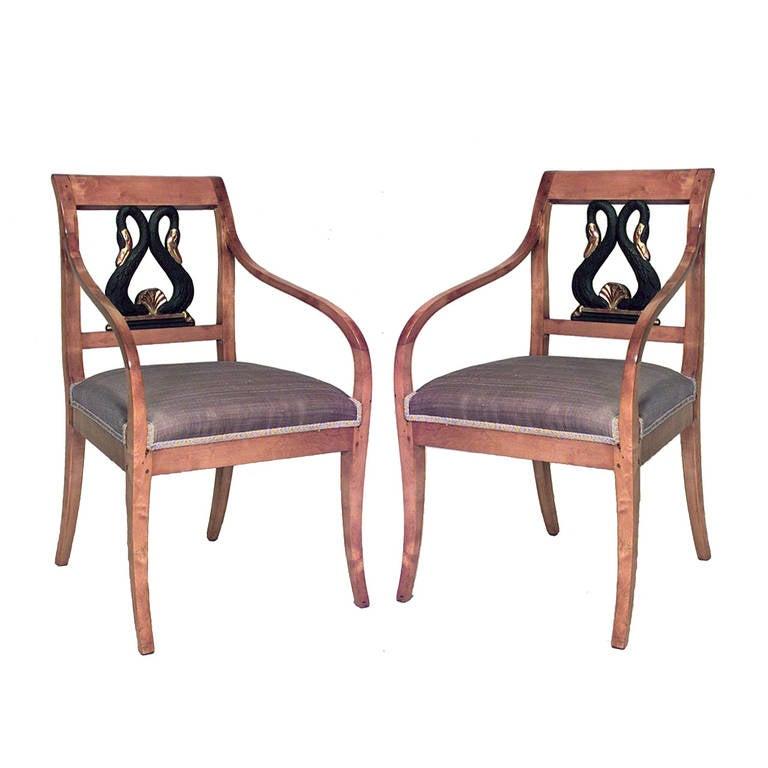 Pair of 19th c. Swedish Biedermeier Open Armchairs