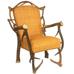 Early 20th c. Continental Stag Horn Chair
