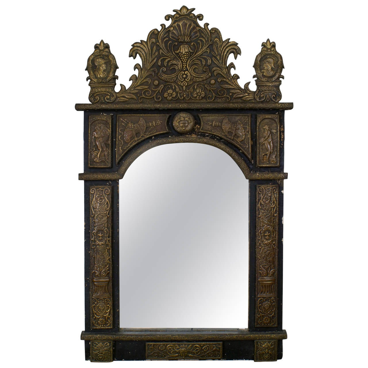 French wall mirror decorated with figural repousse for for Mirrors for sale