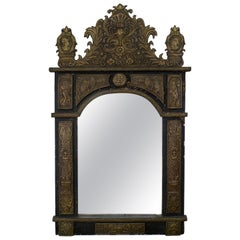 French Wall Mirror  Decorated with Figural Repousse