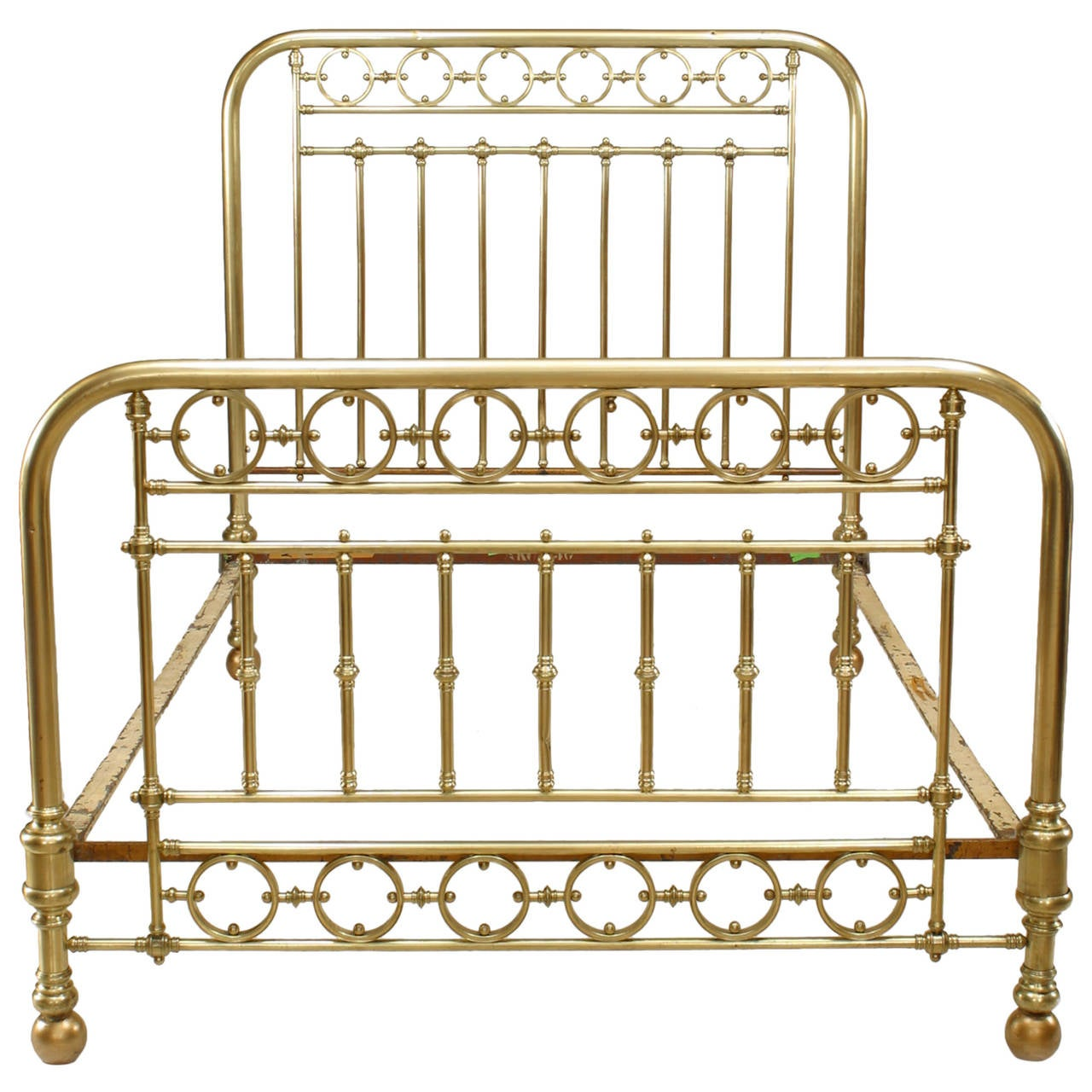19th c american brass full sized spindle bed at 1stdibs for American furniture bed frames