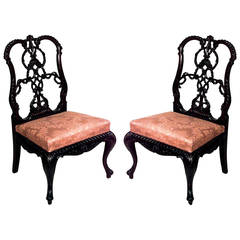 Pair of English Chippendale Style Carved Mahogany Side Chairs