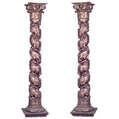 Pair of Italian Rococo Style Gilt Columns