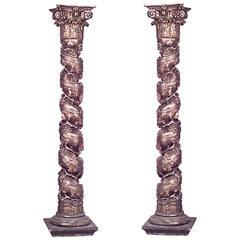 Spectacular Pair of Italian Rococo Solomonic Columns