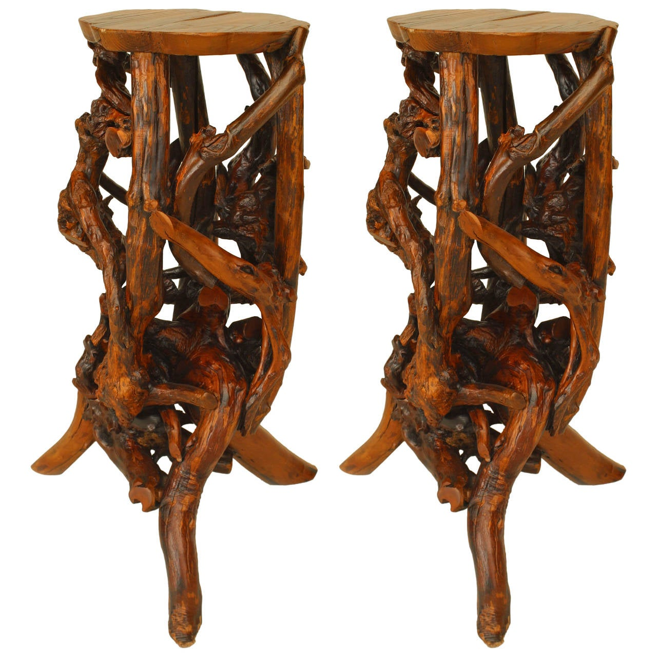 Small 20th C American Adirondack Style Root Pedestals For