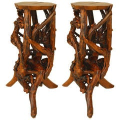 Small 20th c. American Adirondack Style Root Pedestals