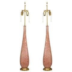 Pair of Large 1940's Italian Pink Murano Glass Lamps Attr. to Barovier e Toso