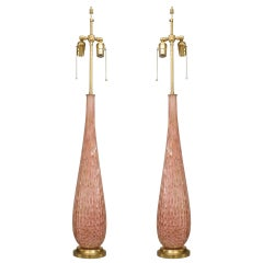 Pair of Large 1940's Pink Murano Glass Lamps, Attrib. to Barovier e Toso